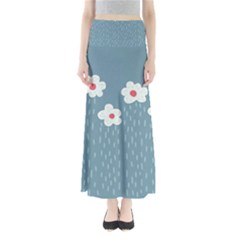 Cloudy Sky With Rain And Flowers Maxi Skirts