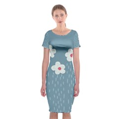Cloudy Sky With Rain And Flowers Classic Short Sleeve Midi Dress