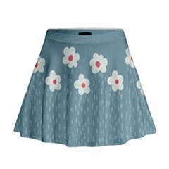 Cloudy Sky With Rain And Flowers Mini Flare Skirt