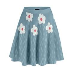 Cloudy Sky With Rain And Flowers High Waist Skirt