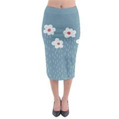 Cloudy Sky With Rain And Flowers Midi Pencil Skirt