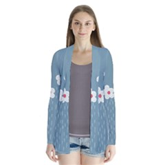 Cloudy Sky With Rain And Flowers Drape Collar Cardigan