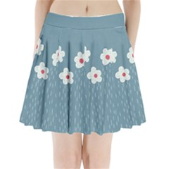Cloudy Sky With Rain And Flowers Pleated Mini Skirt