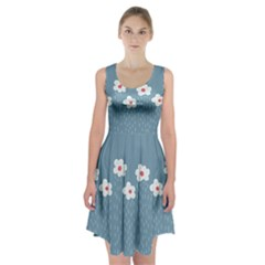 Cloudy Sky With Rain And Flowers Racerback Midi Dress