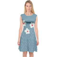 Cloudy Sky With Rain And Flowers Capsleeve Midi Dress