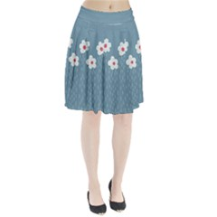 Cloudy Sky With Rain And Flowers Pleated Skirt