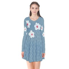 Cloudy Sky With Rain And Flowers Flare Dress