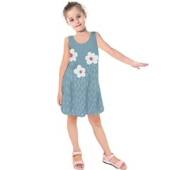 Cloudy Sky With Rain And Flowers Kids  Sleeveless Dress