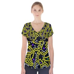 Yellow Fantasy Short Sleeve Front Detail Top