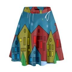 Xmas landscape High Waist Skirt