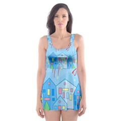 Xmas landscape - Happy Holidays Skater Dress Swimsuit