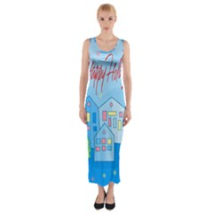 Xmas landscape - Happy Holidays Fitted Maxi Dress