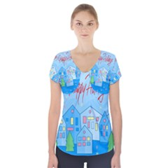Xmas landscape - Happy Holidays Short Sleeve Front Detail Top