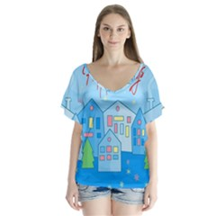 Xmas landscape - Happy Holidays Flutter Sleeve Top