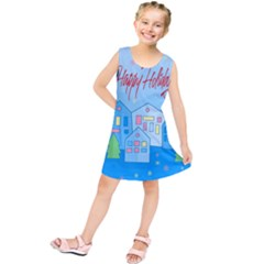 Xmas landscape - Happy Holidays Kids  Tunic Dress