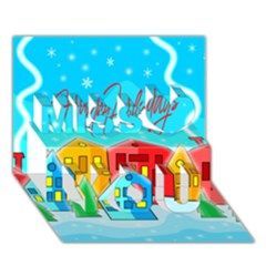 Christmas Magical Landscape  Miss You 3d Greeting Card (7x5)