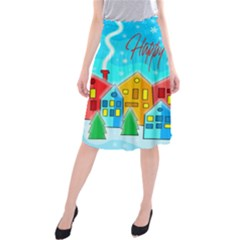 Christmas Magical Landscape  Midi Beach Skirt