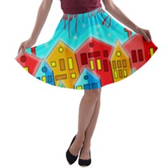 Christmas magical landscape  A-line Skater Skirt