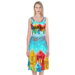 Christmas magical landscape  Midi Sleeveless Dress
