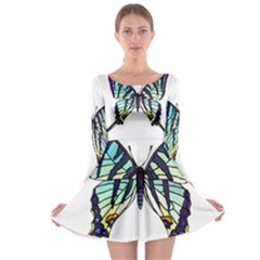 A Colorful Butterfly Long Sleeve Skater Dress