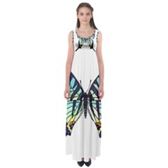 A Colorful Butterfly Empire Waist Maxi Dress