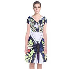 A Colorful Butterfly  Short Sleeve Front Wrap Dress