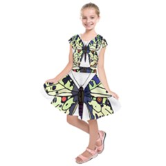 A Colorful Butterfly  Kids  Short Sleeve Dress