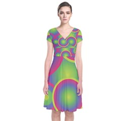 Background Colourful Circles Short Sleeve Front Wrap Dress
