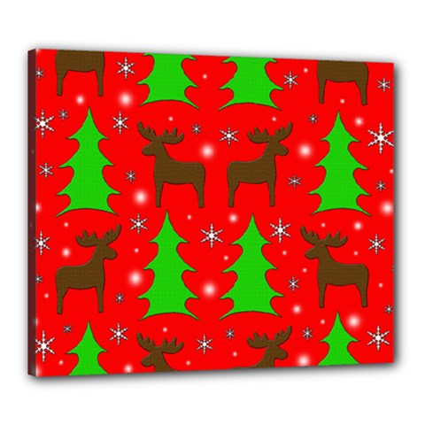 Reindeer and Xmas trees pattern Canvas 24  x 20