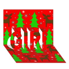 Reindeer And Xmas Trees Pattern Girl 3d Greeting Card (7x5)