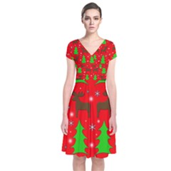 Reindeer and Xmas trees pattern Short Sleeve Front Wrap Dress