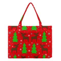 Reindeer and Xmas trees pattern Medium Tote Bag