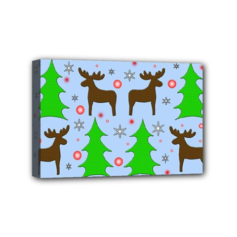 Reindeer and Xmas trees  Mini Canvas 6  x 4