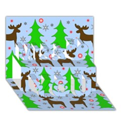 Reindeer and Xmas trees  Miss You 3D Greeting Card (7x5)