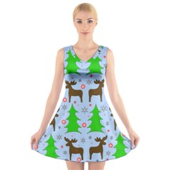 Reindeer and Xmas trees  V-Neck Sleeveless Skater Dress