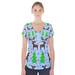 Reindeer and Xmas trees  Short Sleeve Front Detail Top