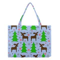 Reindeer and Xmas trees  Medium Tote Bag