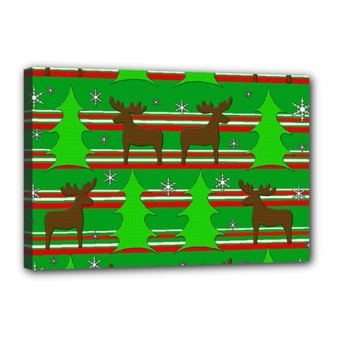 Christmas trees and reindeer pattern Canvas 18  x 12