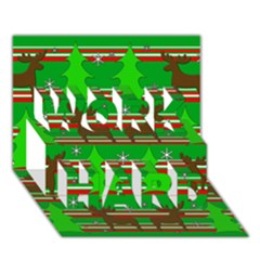 Christmas Trees And Reindeer Pattern Work Hard 3d Greeting Card (7x5)
