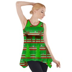 Christmas trees and reindeer pattern Side Drop Tank Tunic