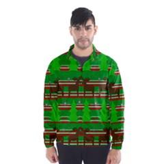 Christmas trees and reindeer pattern Wind Breaker (Men)