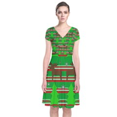 Christmas Trees And Reindeer Pattern Short Sleeve Front Wrap Dress