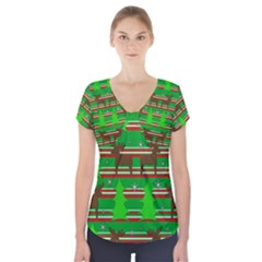 Christmas Trees And Reindeer Pattern Short Sleeve Front Detail Top