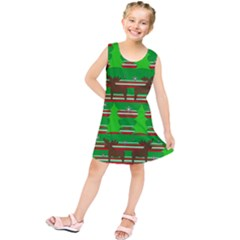 Christmas Trees And Reindeer Pattern Kids  Tunic Dress