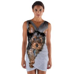 Yorkshire Terrier Puppy Wrap Front Bodycon Dress