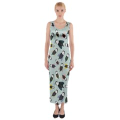 Bees Animal Pattern Fitted Maxi Dress