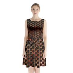 Beehive Pattern Sleeveless Chiffon Waist Tie Dress