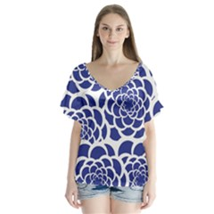 Blue And White Flower Background Flutter Sleeve Top