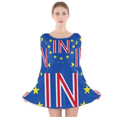 Britain Eu Remain Long Sleeve Velvet Skater Dress
