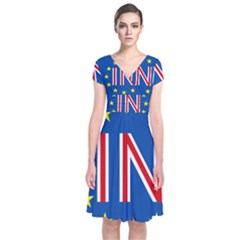 Britain Eu Remain Short Sleeve Front Wrap Dress
